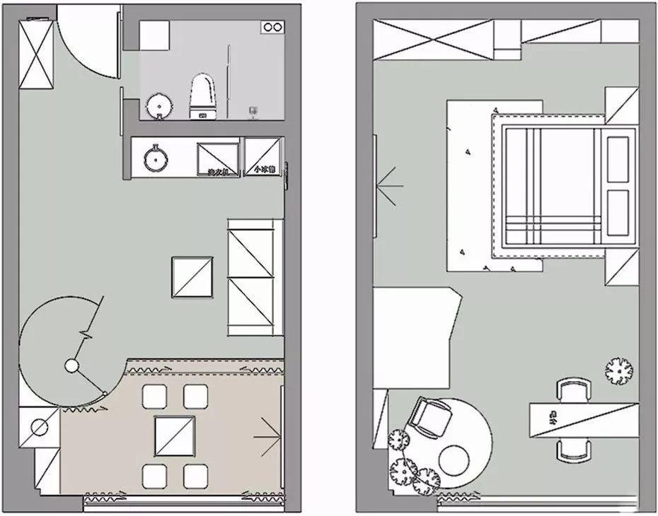 1 平面布置图 38平方小复式单身公寓,有点轻奢的北欧风 一套北欧风的单身公寓,还是个小复式呢,面积有38平方,是年轻人会喜欢的户型。.jpg